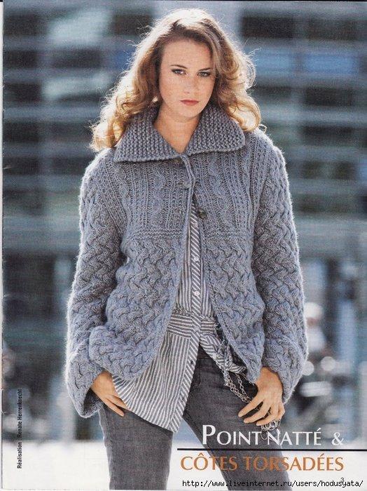 Вязание женских теплых кофт спицами 31