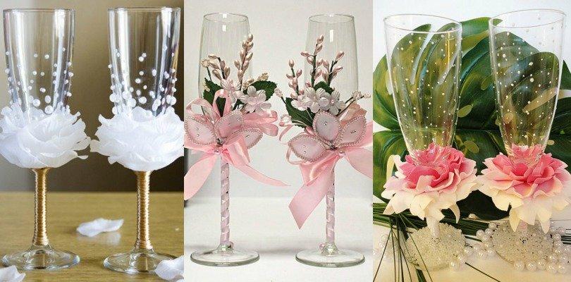 Идея украшения свадебных бокалов своими руками 85