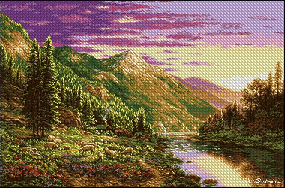 Вышивка горы и озера 160