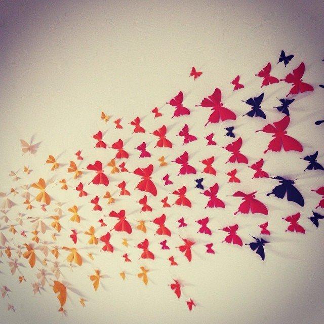 Цветные бабочки из бумаги на стену своими руками трафареты