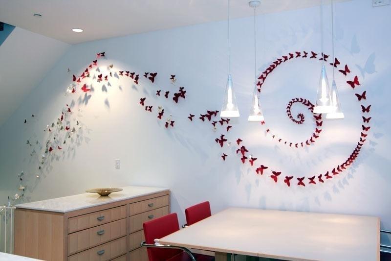 Бабочки на стене из бумаги своими руками фото