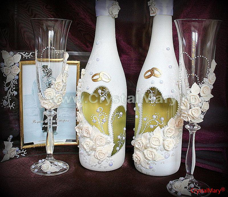 Декорация бутылок свадебные своими руками