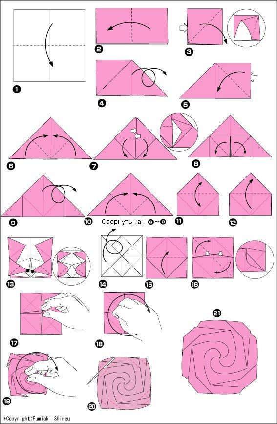 Поделка из бумаги розу своими руками схема