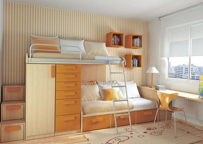Интерьер маленькой детской комнаты для двух девочки