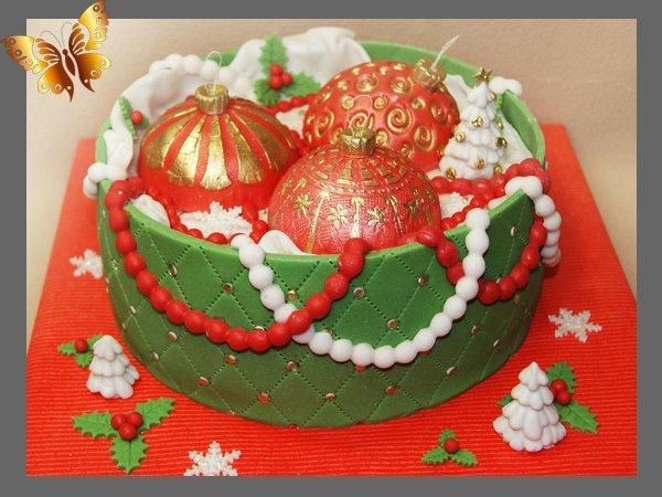 Торт с новогодними шарами фото