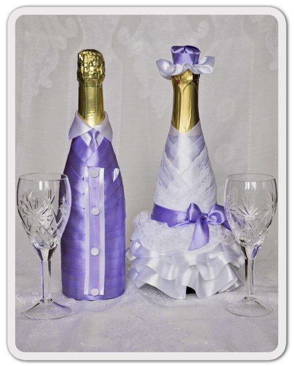Как украсить лентой бутылку шампанского на свадьбу  750