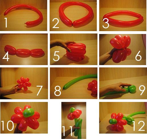 Цветок из шариков сделать своими руками