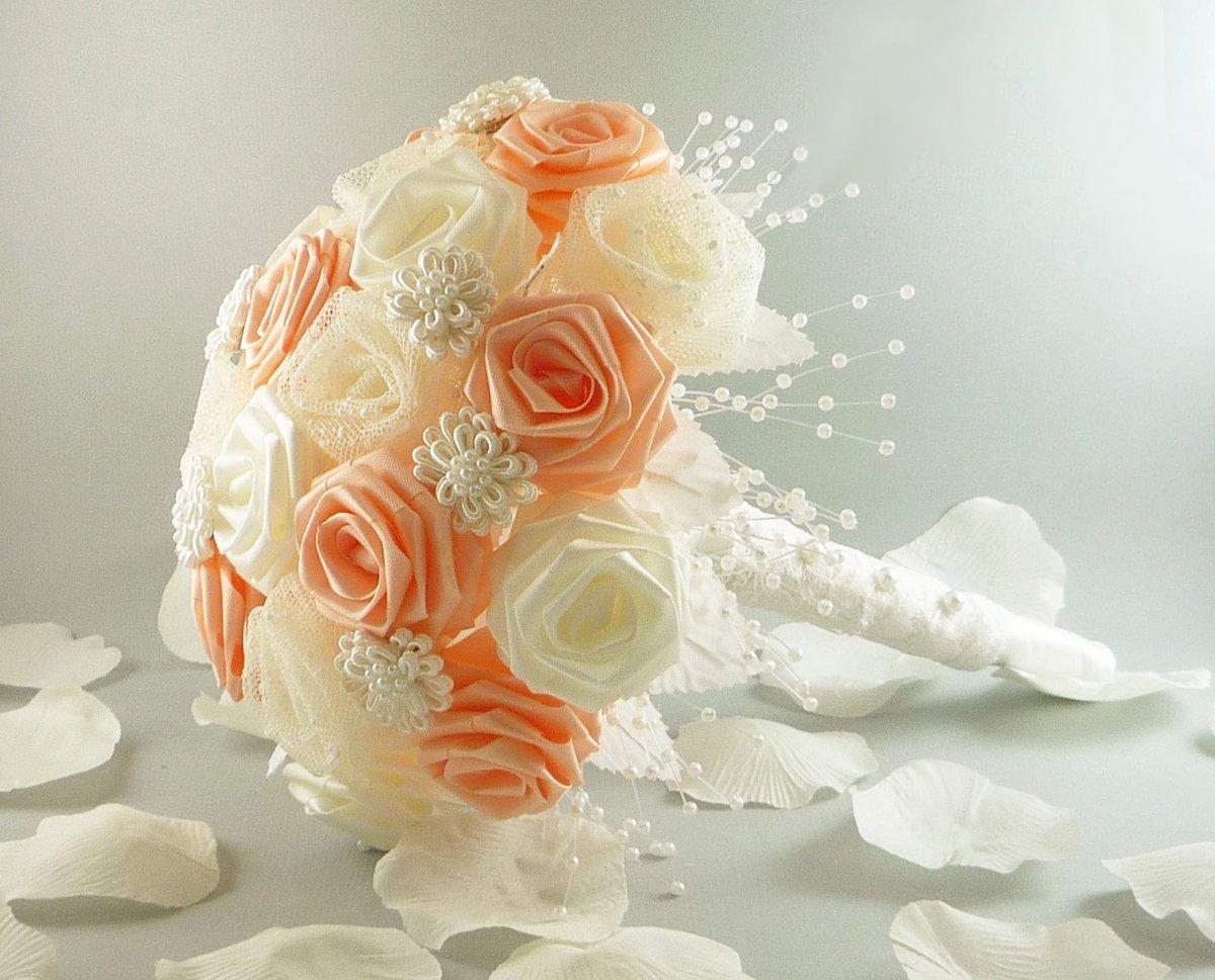 Букет невесты своими руками из атласных лент: инструкция и 60