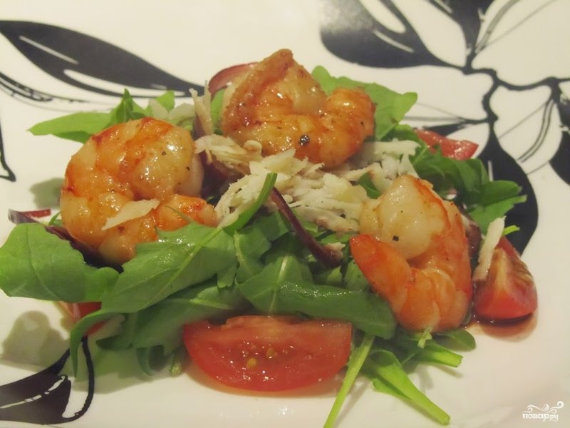 Рецепты салатов из креветок и руколы с
