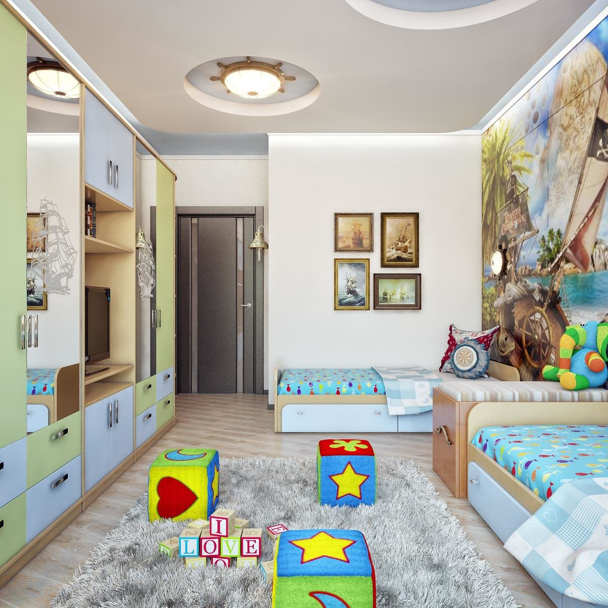 Интерьеры детской на двоих детей фото