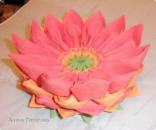 Цветок лотоса из салфеток своими руками пошаговое фото