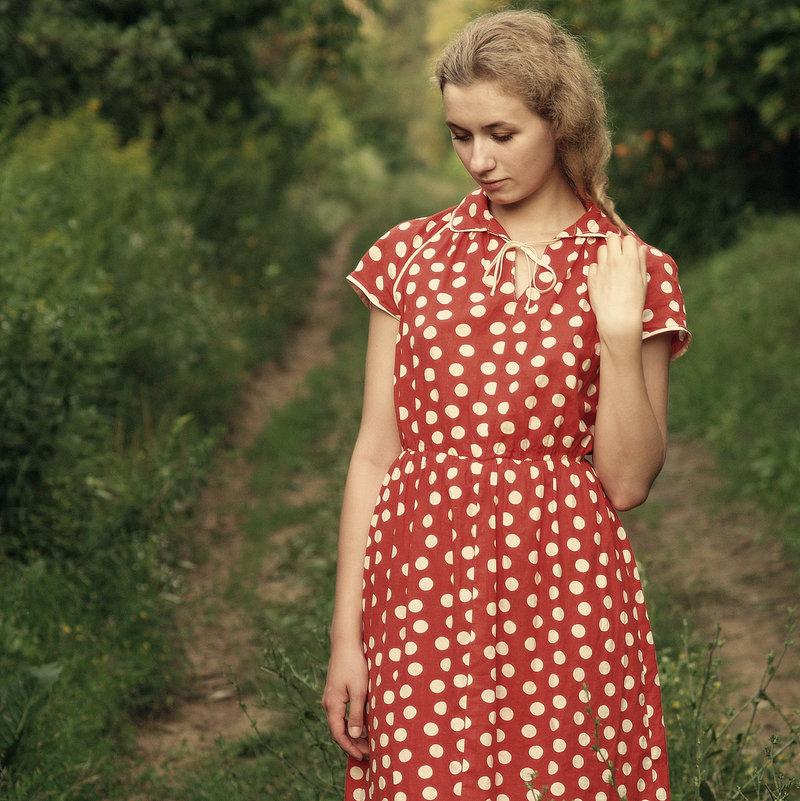 Сшить платье из тканей в горошек