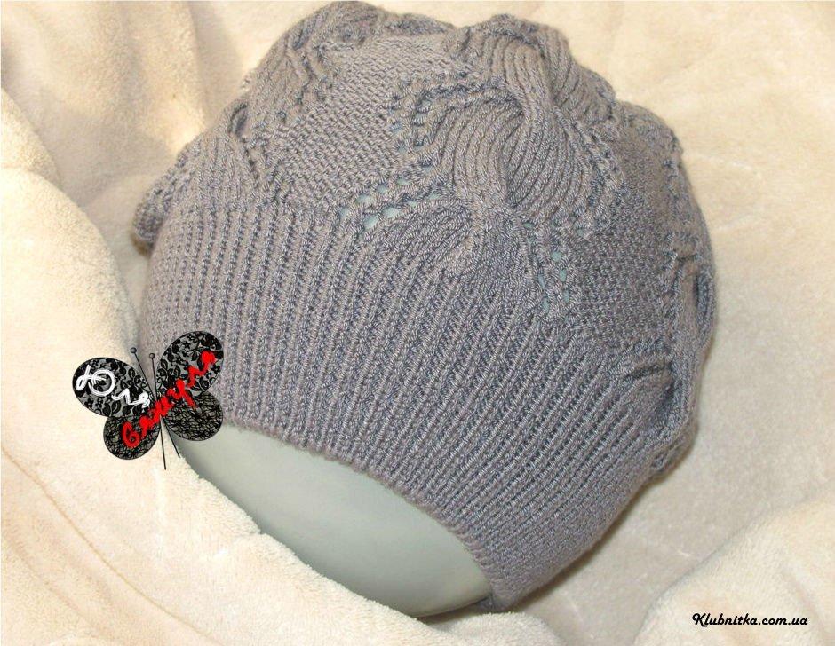 Ажурное вязание спицами шапки 786