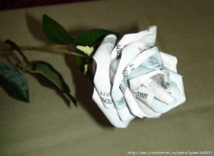 Роза из денег своими руками мастер класс 59