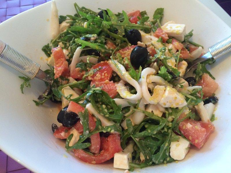 Салат с рукколой и морепродуктами рецепты с