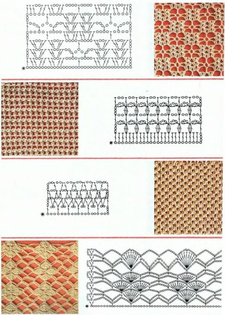 Образцы схем узоров вязания крючком