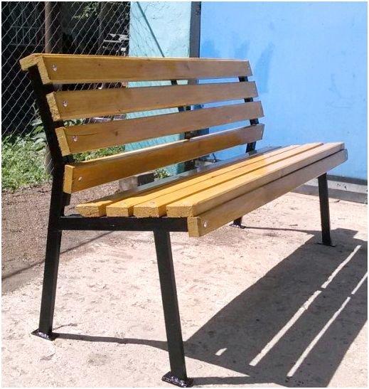 Скамейка своими руками из металла и дерева фото чертежи 40