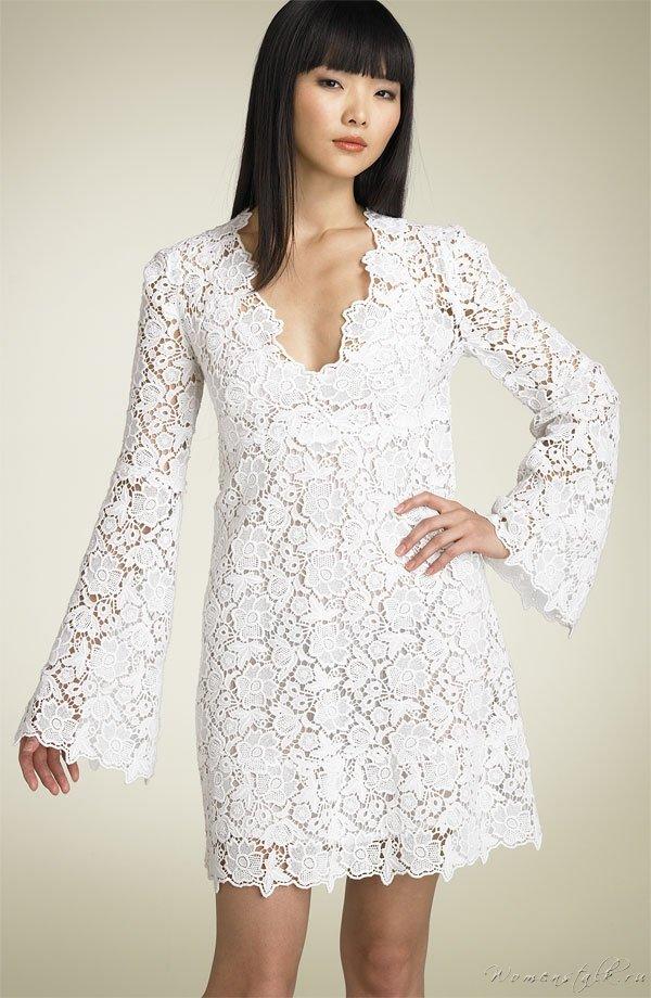 Кружевное платье с длинным рукавом своими руками