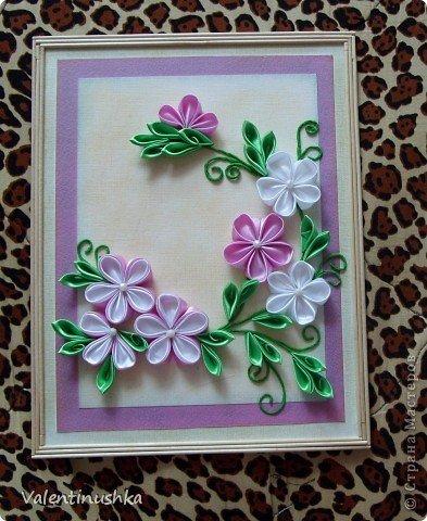 Как сделать картину из цветов канзаши своими руками 44