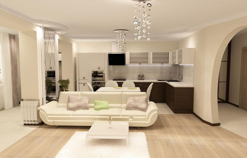 Гостиная с кухней дизайн в светлых тонах