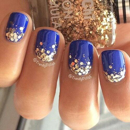 Маникюр синие с золотыми