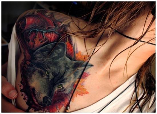 Тату волка все тело