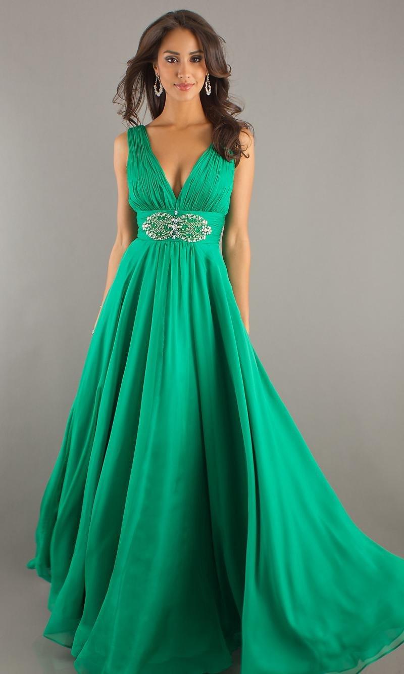 Зеленые платья в пол