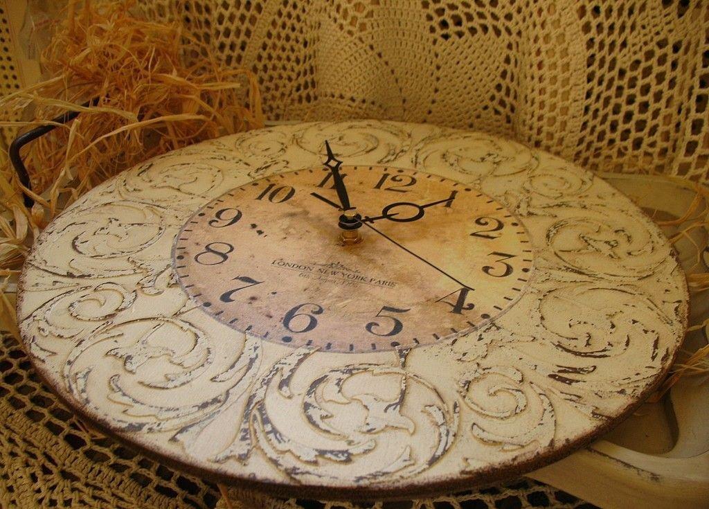 Часы в стиле прованс своими руками