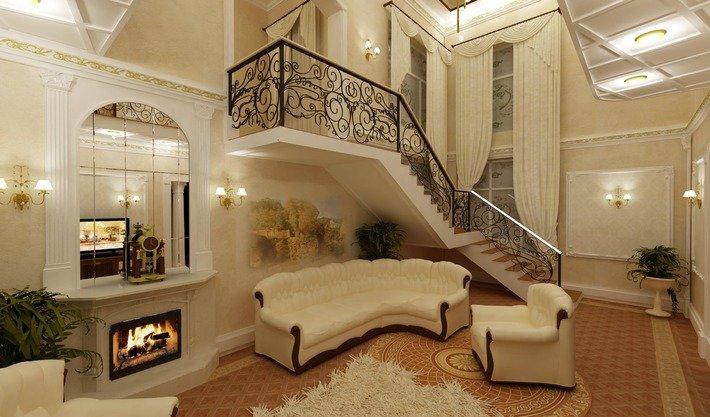 Интерьер гостиной с камином и лестницей в частном доме фото