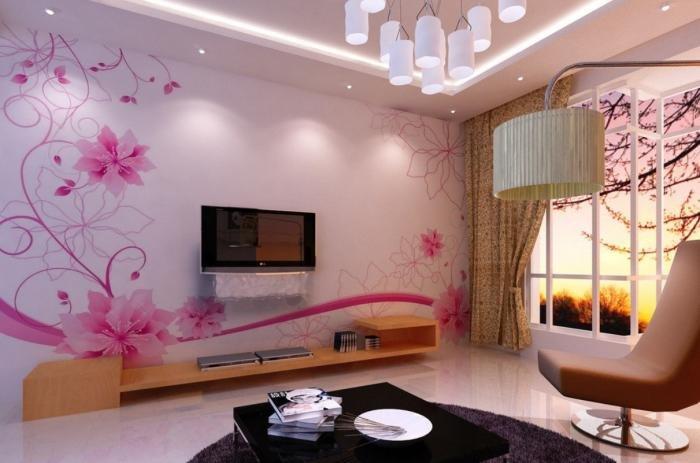 Дизайн гостинойобоями цветы