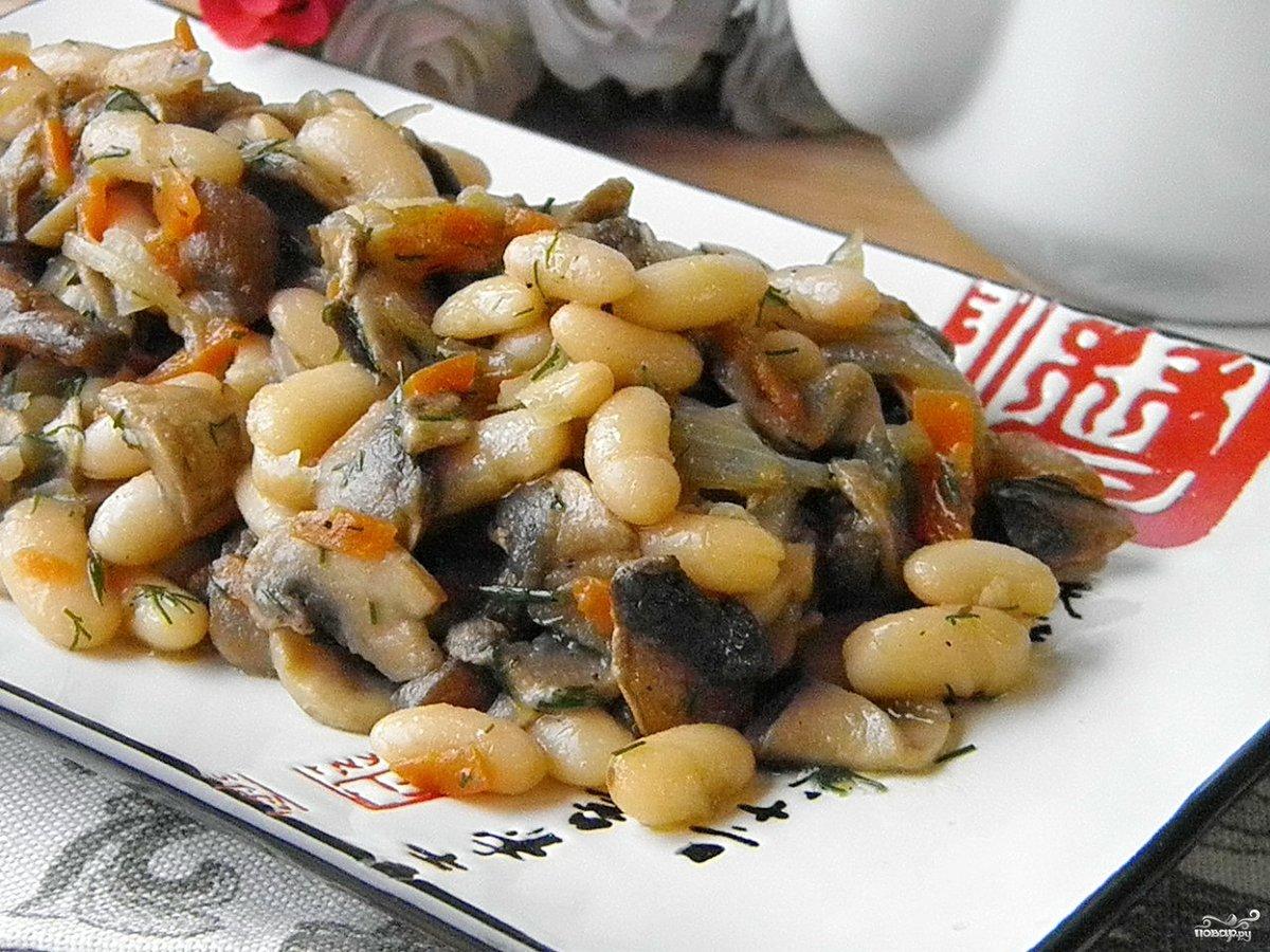 Салат из фасоли и грибов пошагово