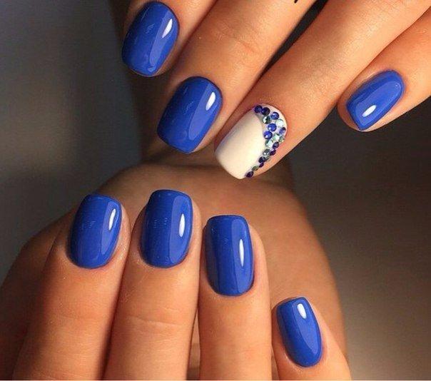 Идеи маникюра в синем цвете гель лаком