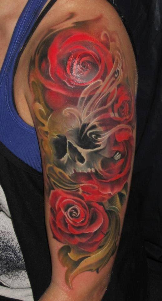 Фото тату рукава розы и черепа