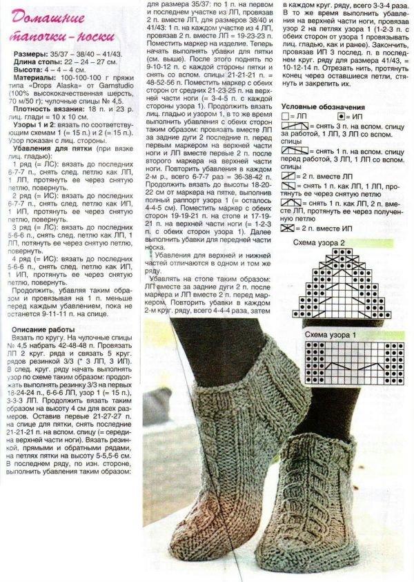 Вязание следок и тапочек