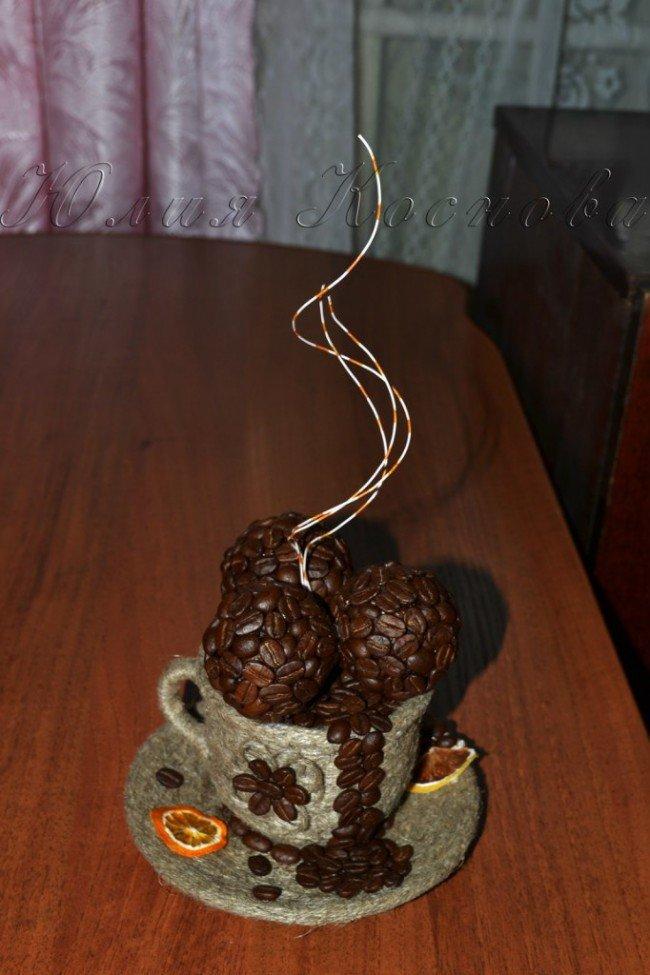 Подарок из кофейных зерен своими руками 20