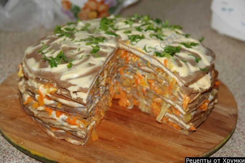 Печёночный торт рецепт из куриной печени рецепт с фото