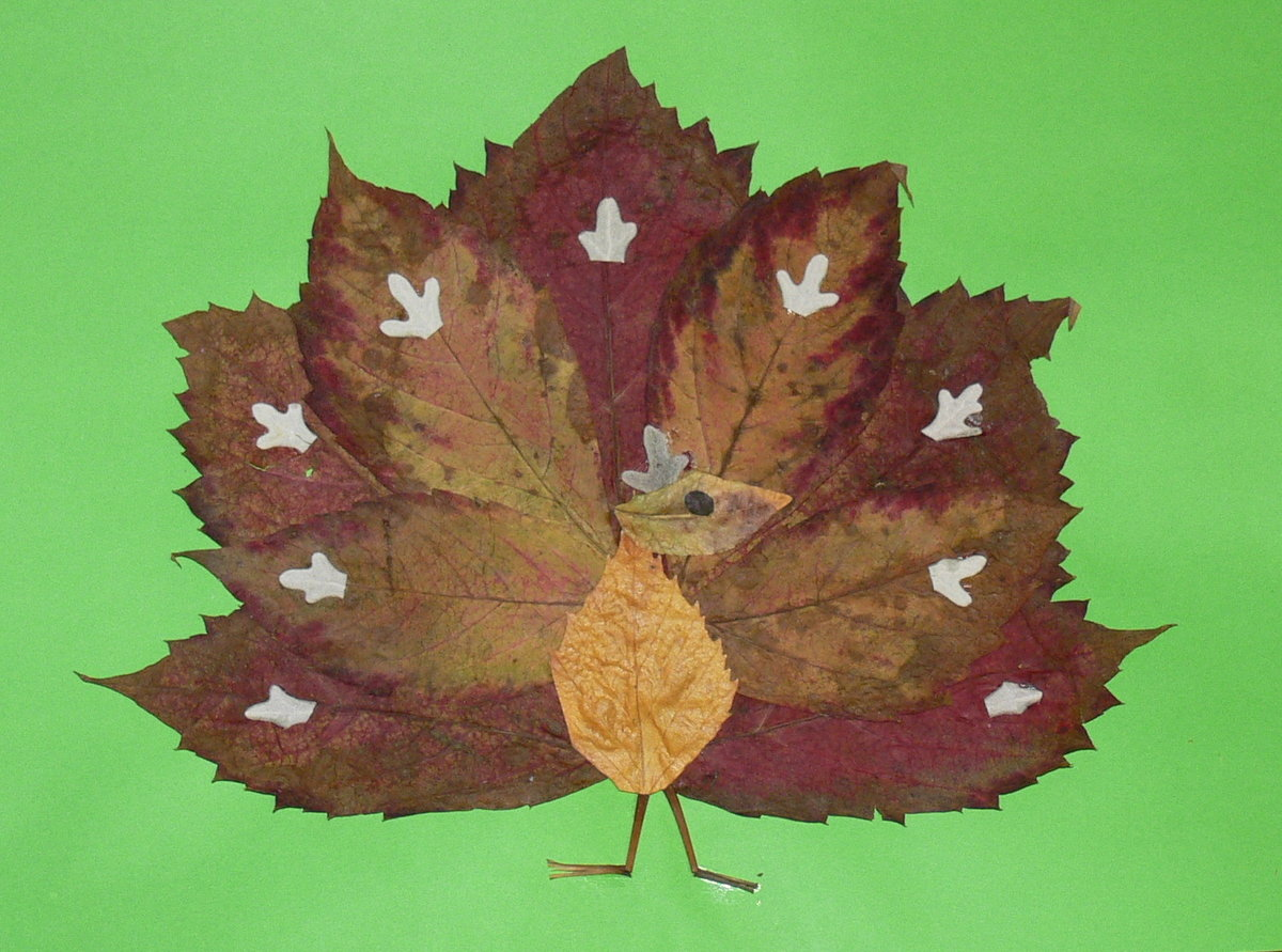 Поделки детей из листьев фото