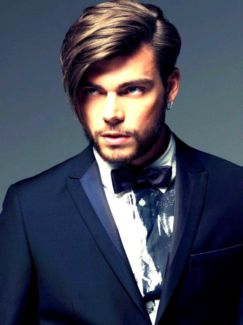 Прически для волос средней длины с челкой мужские