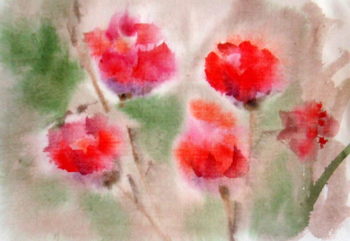Как нарисовать цветок по мокрому