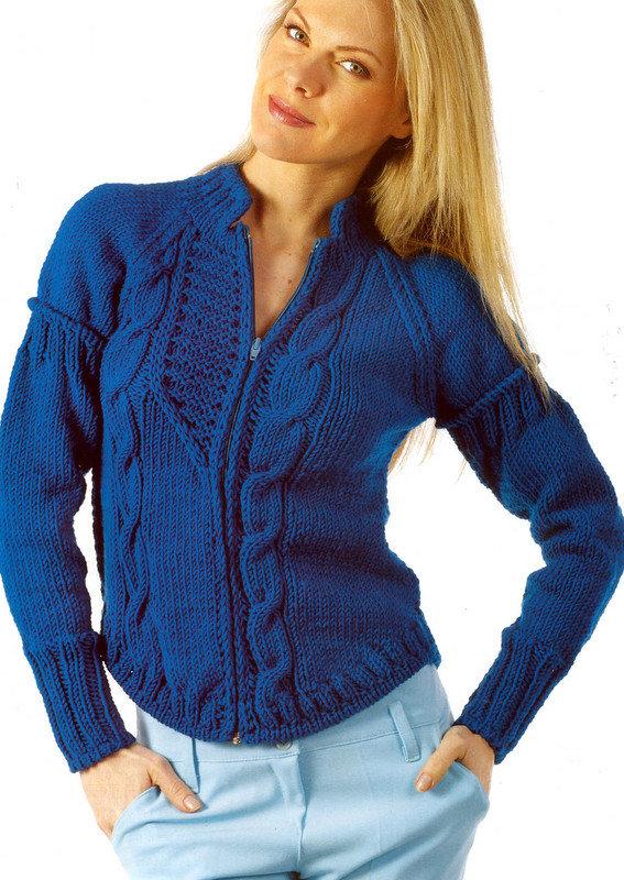 Вязание женских теплых кофт спицами 52