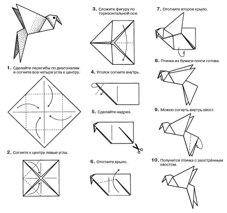 Птицы оригами из бумаги своими руками