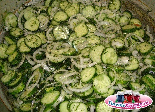 Салат из огурцов с луком рецепт