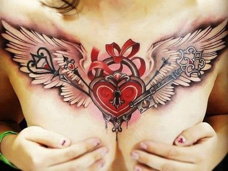 Фото тату для девушек на грудине