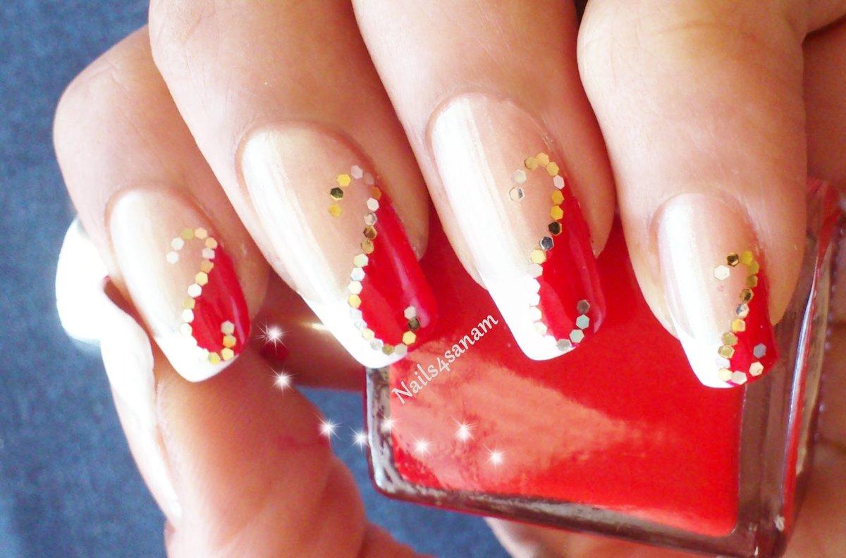 Фото свадебных ногтей красно белых