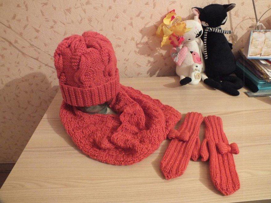 Вязаные шапочки и шарфы своими руками 33