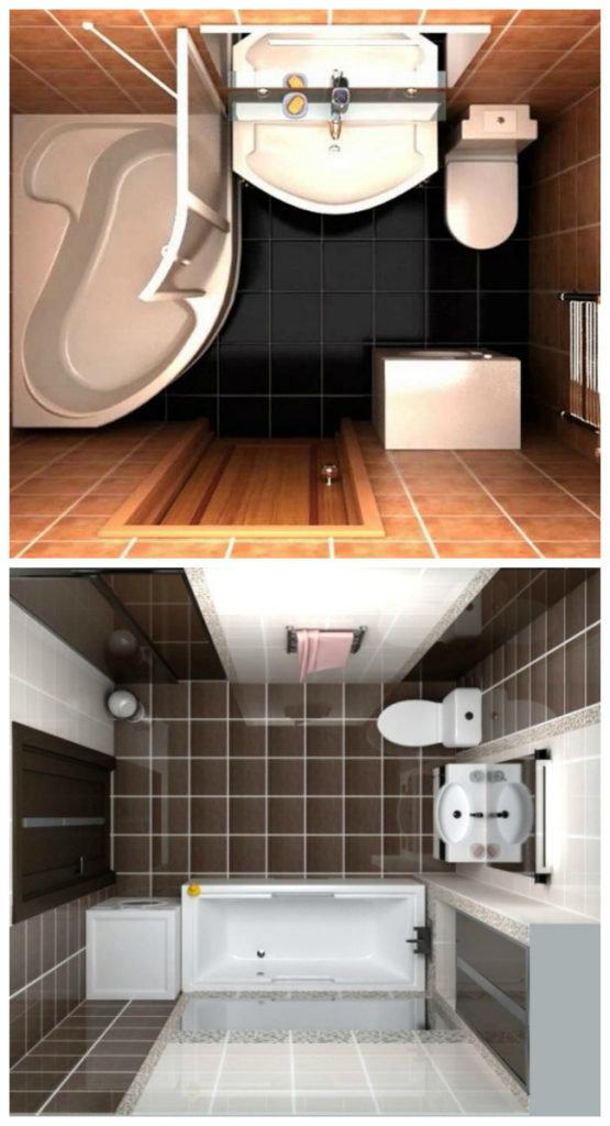 Дизайн ванной комнаты совмещенной с туалетом площадью 5 кв