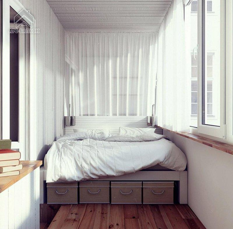 Дизайны кровати на балконах