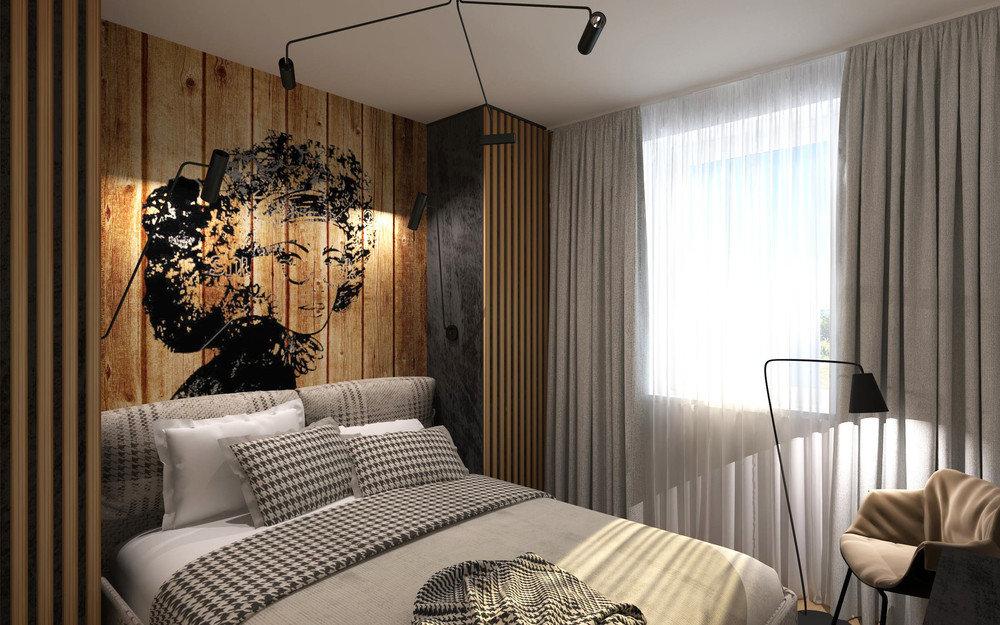 Дизайн маленькой спальни фото 2015 современные идеи обои двух цветов