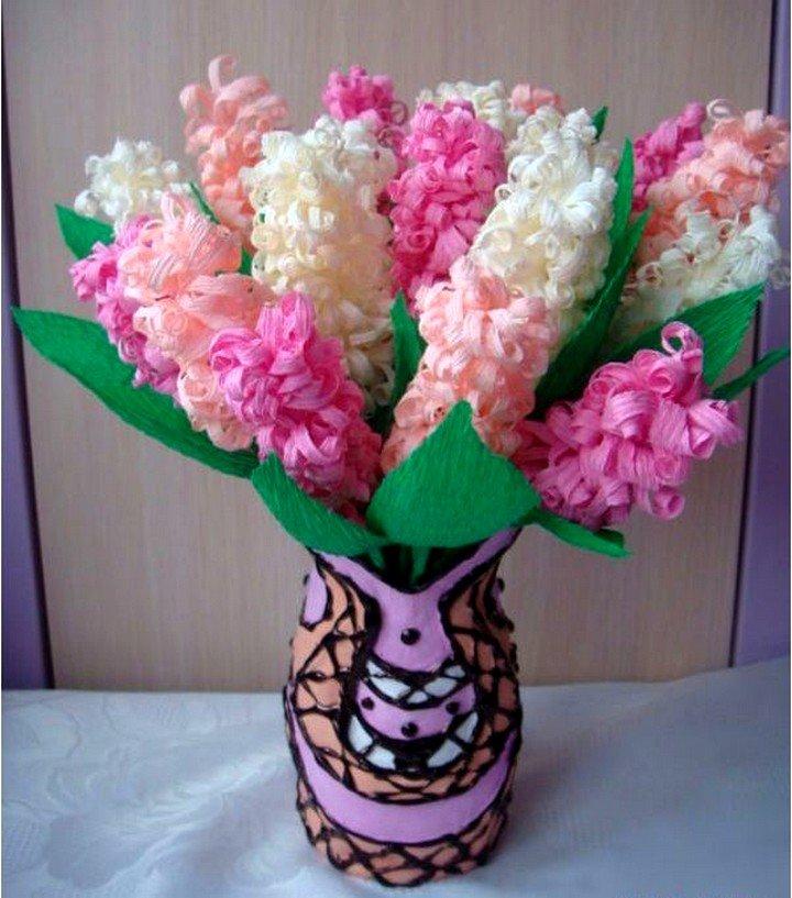 Гиацинты цветы из гофрированной бумаги