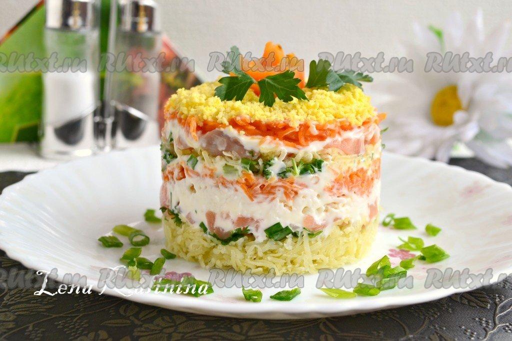 Салат мимоза с семгой слабосоленой